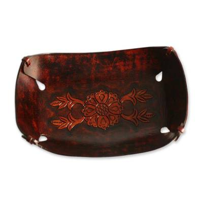 Leather catchall, 'Sunflower Garland' - Rectangular Hand Crafted Leather Brown Floral Catchall
