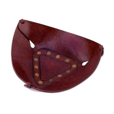 Spare Change Tooled Leather Triangle Catchall from Peru