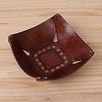 Leather catchall, 'Square Essence' - Brown Leather Catchall with Iron Studs Crafted in Peru