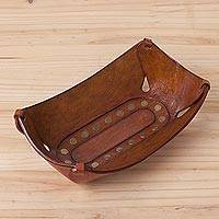 Leather catchall, 'Rectangular Essence' - Hand Tooled Brown Leather centrepiece with Decorative Iron S