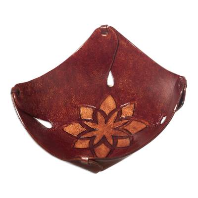Floral Leather Catchall and Tray from Peru