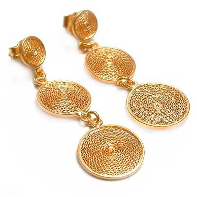 Gold plated filigree dangle earrings, 'Starlit Suns' - Gold Plated Earrings 21k on 925 Silver Filigree