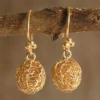 Gold plated dangle earrings, 'Cocoons'