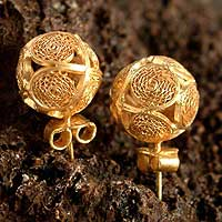 Gold plated filigree earrings, 'Peruvian Sun'