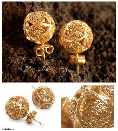 Gold plated filigree earrings, 'Peruvian Sun' - Gold Plated Filigree Earrings from Peru