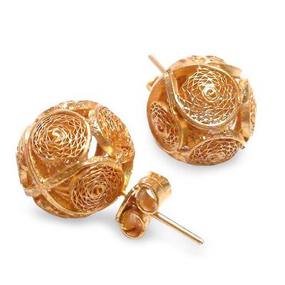 Gold plated filigree earrings, 'Peruvian Sun' - Gold Plated Filigree Earrings from Peru