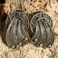 Silver filigree earrings, 'Antique Celebration' - Artisan Crafted Sterling Silver Button Earrings