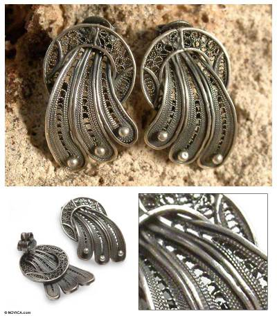 Silver Filigree Earrings Antique Celebration Crafted Sterling On