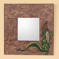 Leather mirror, 'Maize' - Leather mirror