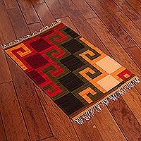 Wool rug, 'Fiery Hills' (2x2.5)