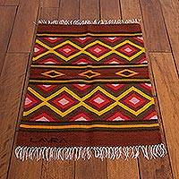 Wool rug, 'Diamonds' (2x2.5) - Collectible Geometric Wool Area Rug (2x2.5)