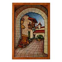 Cedar relief panel, 'Village Gate' - Handcrafted Peruvian Wood Relief Panel