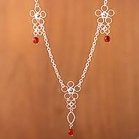 Carnelian Y necklace, 'Three Marias' - Peru Art Silver and Carnelian Necklace