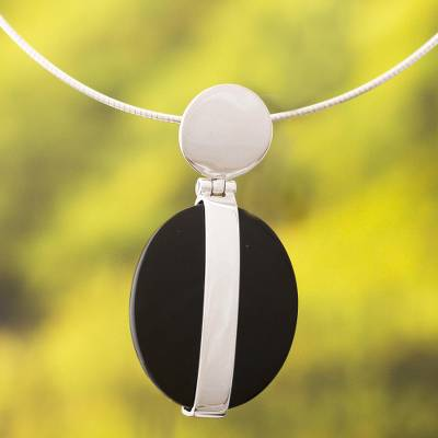 Obsidian pendant necklace, 'Sublime' - Women's Modern Sterling Silver Pendant Obsidian Necklace
