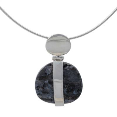 Marble pendant necklace, 'Sublime' - Unique Modern Marble and Silver Necklace