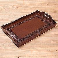 Hardwood and leather tray, 'Renaissance'