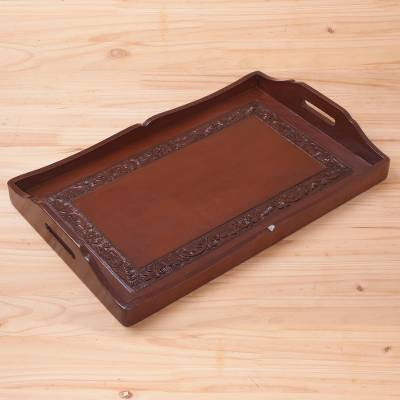 bd20e90a22e2 UNICEF Market | Handcrafted Wood and Leather Tray Serveware ...