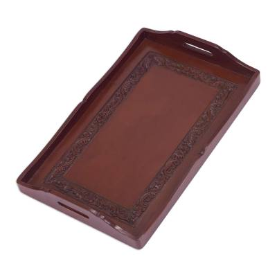 Hardwood and leather tray, 'Renaissance' - Handcrafted Wood and Leather Tray Serveware