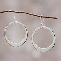 Sterling silver dangle earrings, 'Perfect Moon'