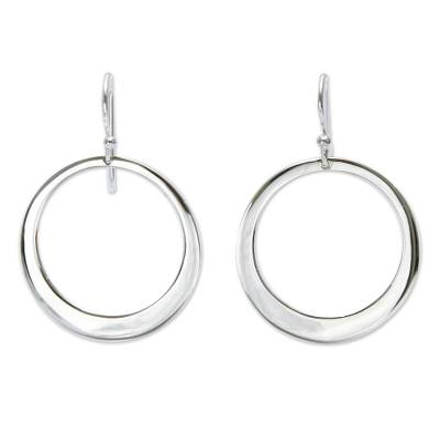 Sterling silver dangle earrings, 'Perfect Moon' - Unique Sterling Silver Dangle Earrings