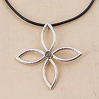 Rutile quartz flower necklace,