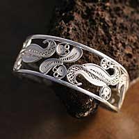 Silver cuff bracelet, 'Filigree Bouquet'