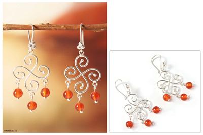 Carnelian chandelier earrings, 'Pinwheel' - 925 Sterling Silver And Carnelian Bead Chandelier Earrings