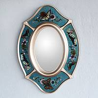 Mirror, 'Royal Butterfly' - Reverse-Painted Handcrafted Butterfly Mirror