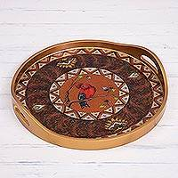 Painted glass tray,
