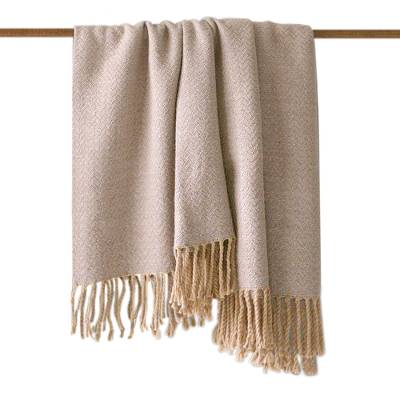 Throw, 'Waves' - Alpaca Blend Throw Blanket in Grey and Beige from Peru
