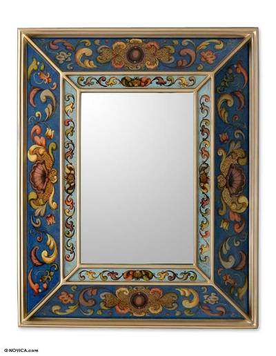 Mirror, 'Sapphire Coat of Arms' - Blue Reverse Painted Artisan Crafted Mirror from Peru