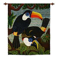 Wool tapestry, 'Amazon Toucans'