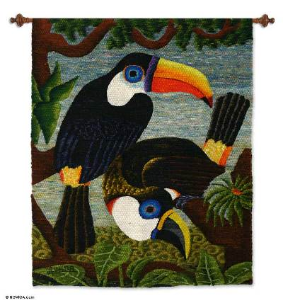 Wool tapestry, 'Amazon Toucans' - Wool tapestry