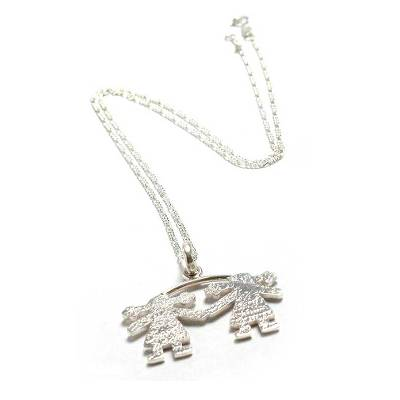 Sterling silver pendant necklace, 'Sisters' - Sterling silver pendant necklace