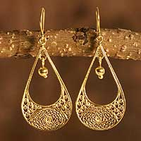Gold plated filigree dangle earrings, 'Teardrop' - Gold Plated Handcrafted Earrings