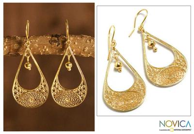 Gold plated filigree dangle earrings, 'Teardrop' - Peruvian 21K Gold Plated Filigree Dangle Earrings