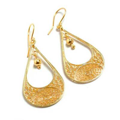 Gold plated filigree dangle earrings, 'Teardrop' - Peruvian 21K Gold Plated Filigree Dangle Earrings