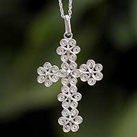 Sterling silver cross necklace, 'Filigree Flowers'