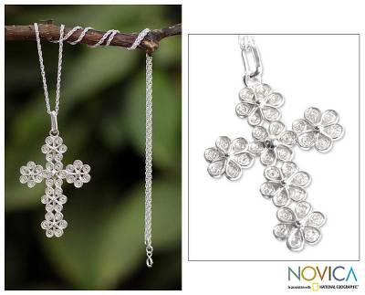 Sterling silver cross necklace, 'Filigree Flowers' - Artisan Crafted Fine Silver Filigree Cross Necklace