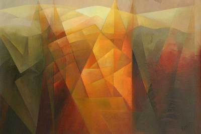 'Vision of the Andean Landscape III' - Abstract Oil Painting, Work III in Series