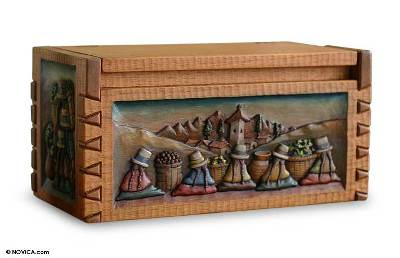 Hand Crafted Wood Decorative Carved Cedar Box Chest