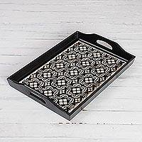 Reverse painted glass tray, 'Floral Muse' (17 inch) - Handmade Black Reverse Painted Glass Serving Tray
