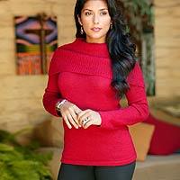 100% alpaca sweater, 'Winter Passion' - 100% alpaca sweater