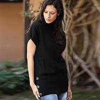 100% alpaca sweater, 'Ebony Style' - 100% alpaca sweater