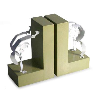 Aluminum bookends, 'Handstand Harlequin' (pair) - Aluminum bookends (Pair)