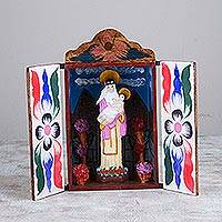 Wood retablo, 'Saint Rose of Lima' - Religious Folk Art Retablo Sculpture