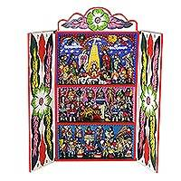 Wood retablo, 'Andean Bullfight' - Hand Crafted Andean Wood Bullfight Retablo