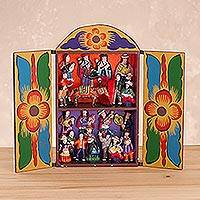Wood retablo, 'Yawar Fiesta' - Folk Art Wood Retablo Sculpture from Peru