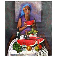 'Fruit Seller' (2009) - Peruvian Portrait Painting
