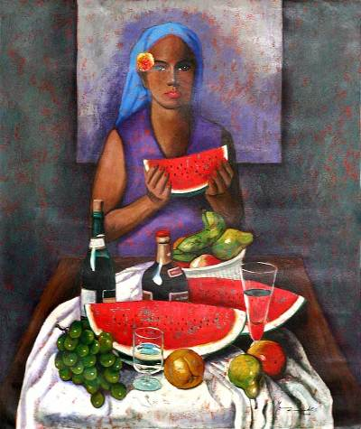 'Fruit Seller' (2009) - Peruvian Portrait Painting